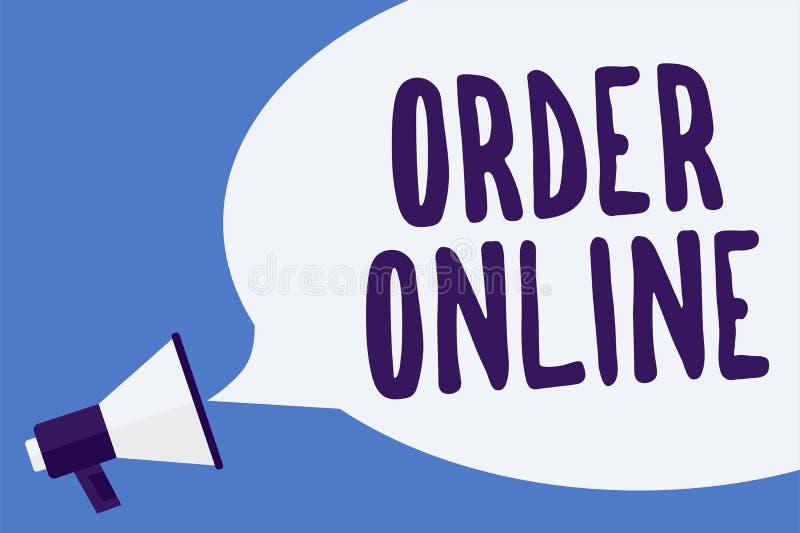 在网上显示命令的文字笔记 企业照片陈列的买的商品和服务从卖主在互联网Megaphon 向量例证