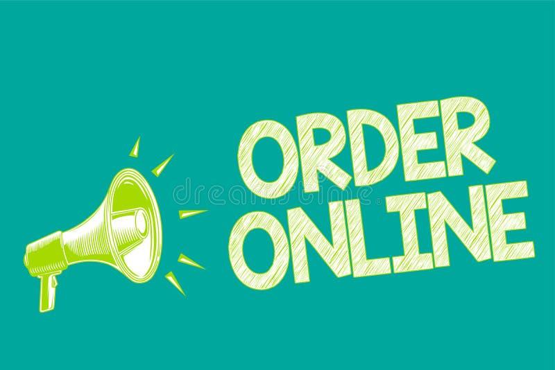 在网上显示命令的文本标志 概念性照片买的商品和服务从卖主在互联网扩音机loudspeake 库存例证
