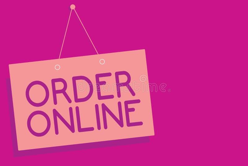 在网上显示命令的文本标志 概念性照片买的商品和服务从卖主在互联网桃红色委员会墙壁弄乱 皇族释放例证