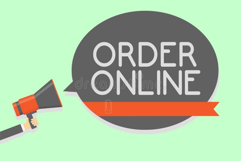 在网上显示命令的概念性手文字 企业照片陈列的买的商品和服务从卖主在实习生 皇族释放例证
