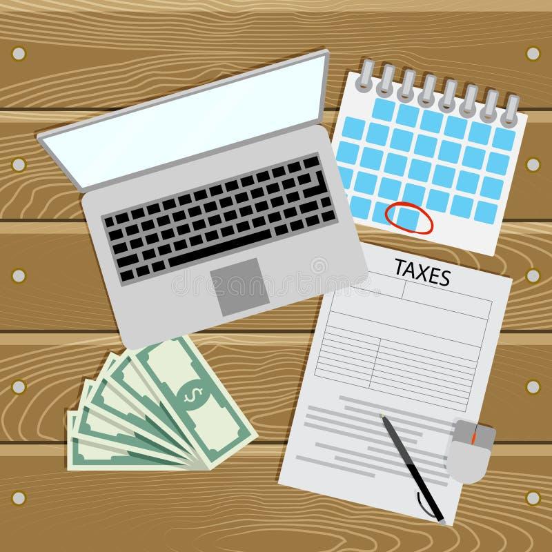 在网上税 税的发工资日 皇族释放例证