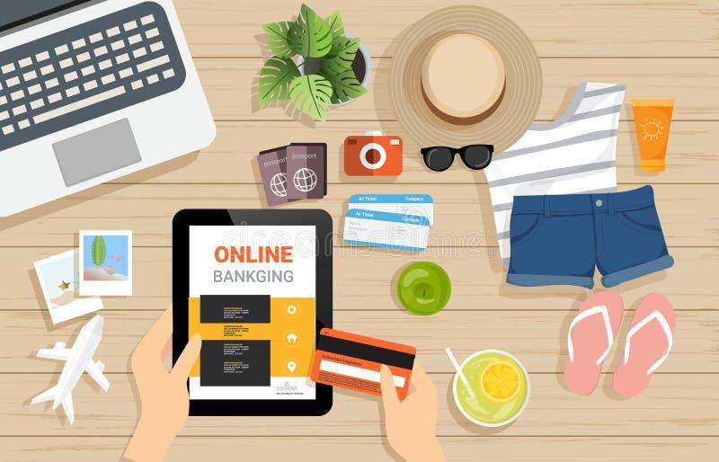 在网上购物与笔记本,片剂的顶视图,网站,应用程序,超级市场产品,打印,横幅 向量 向量例证
