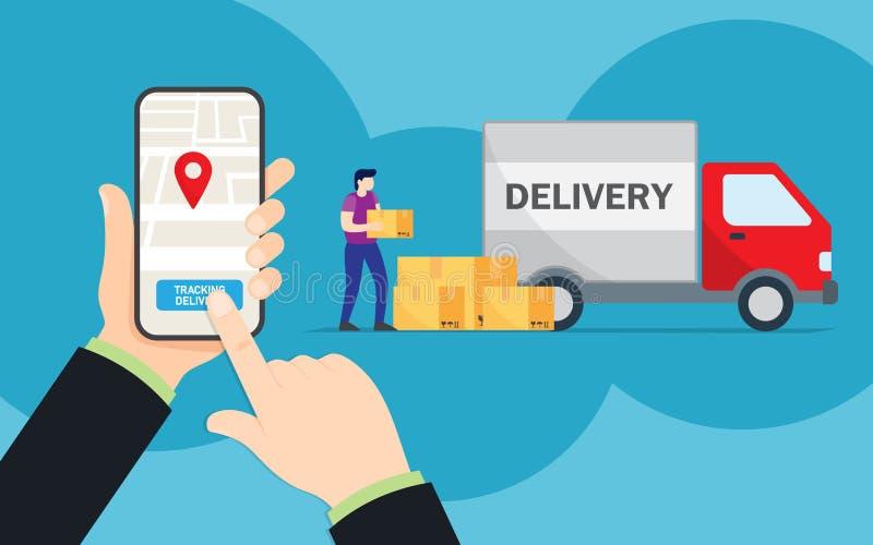 在网上跟踪小包的运动在智能手机、后勤学和运输,送货服务的 库存例证