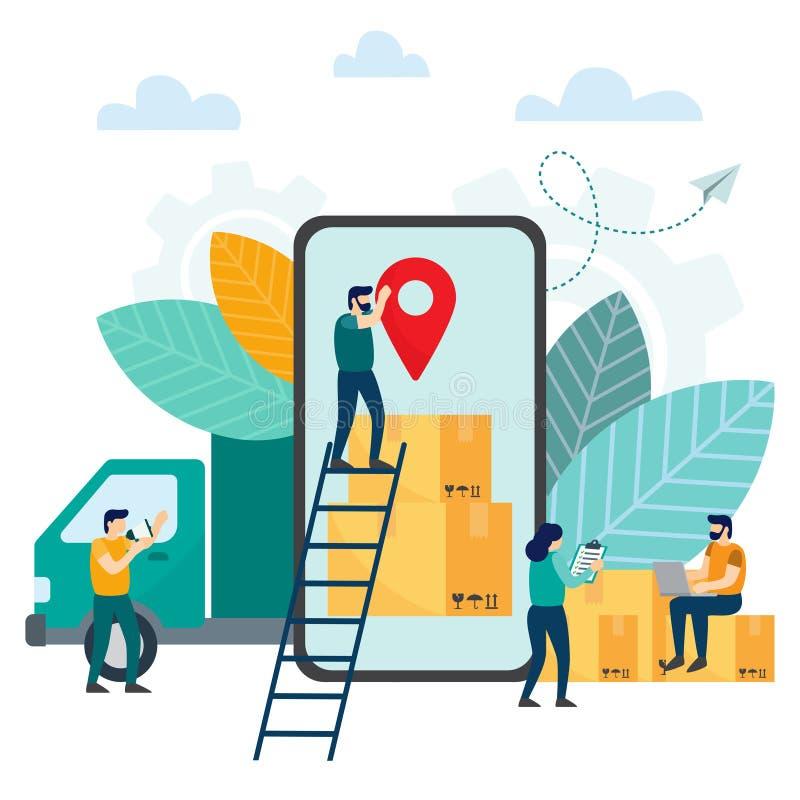 在网上跟踪小包的运动在智能手机、后勤学和运输,送货服务的 向量例证