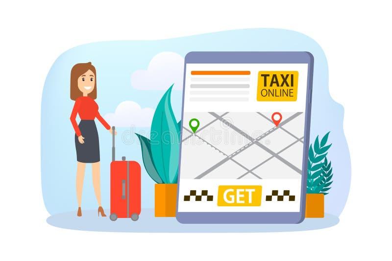 在网上预定的出租汽车 在手机的命令汽车 库存例证