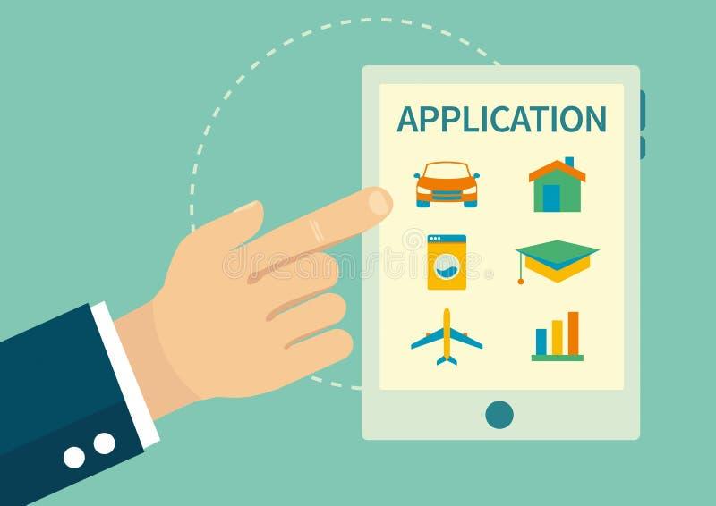 在网上贷款和保险应用 向量例证