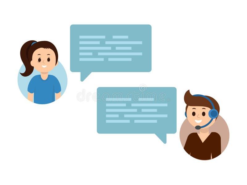 在网上chating平的传染媒介的人民 支助服务网上闲谈,通信,对话,概念 向量例证
