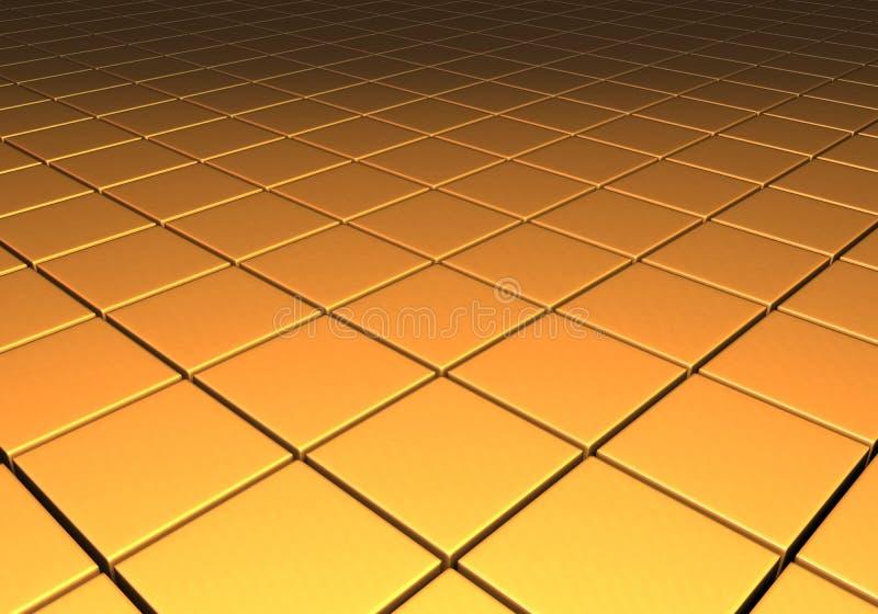在网格图形的金金属反射性立方体 库存例证
