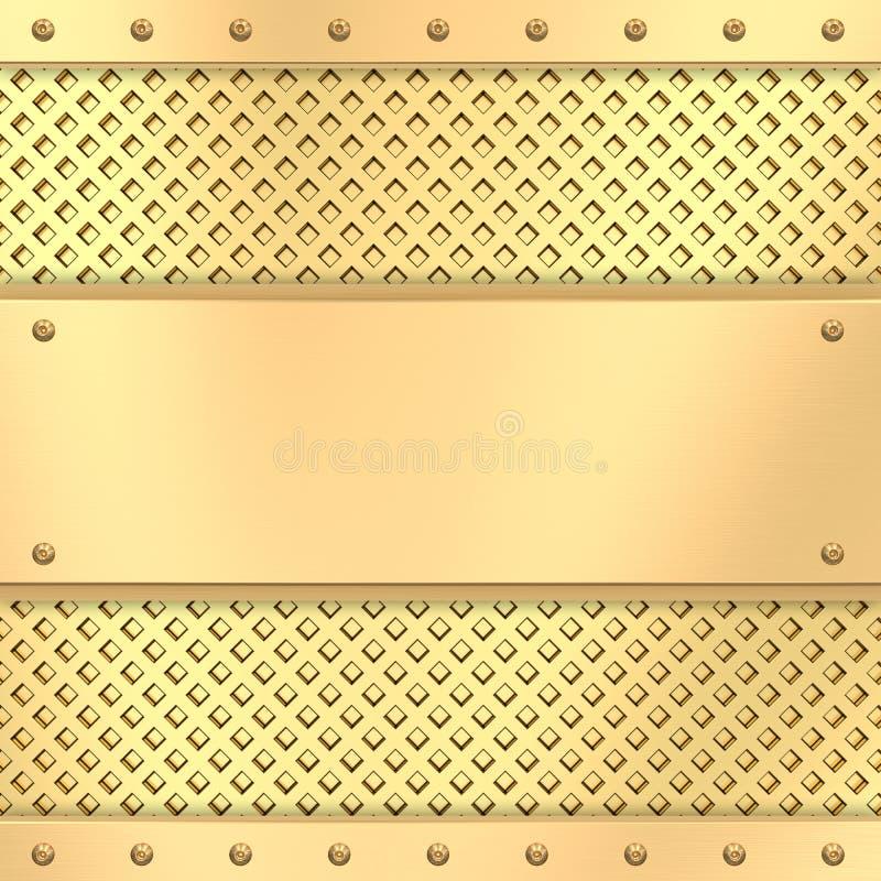 在网格背景的空白金黄牌照与铆钉 库存例证