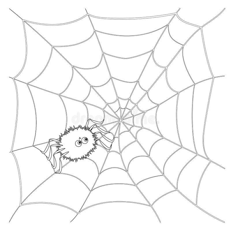 在网的被隔绝的黑概述动画片蜘蛛在白色背景上 曲线线 彩图页  万圣节例证月亮晚上 向量例证
