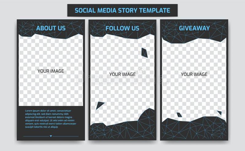 在网络蓝色霓虹未来派减速火箭的虚拟世界的编辑可能的instagram故事设计模板与抽象多角形线 向量例证