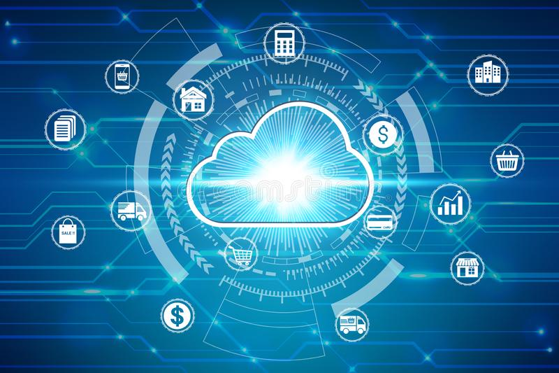 在网络连接的云彩计算的象,网络安全数据保护企业技术保密性概念 库存例证