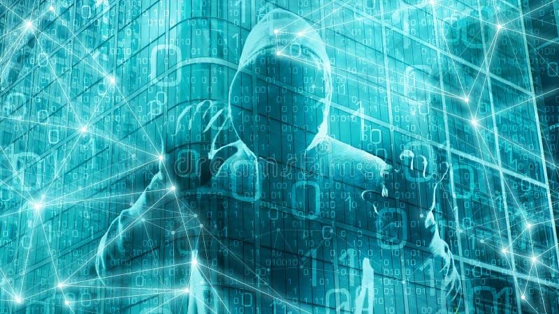 在网际空间的网络威胁,计算机数字,处理算法计算机科学背景图表的人工智能 皇族释放例证