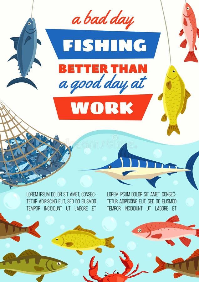 在网,渔场产业和钓鱼体育的鱼 库存例证