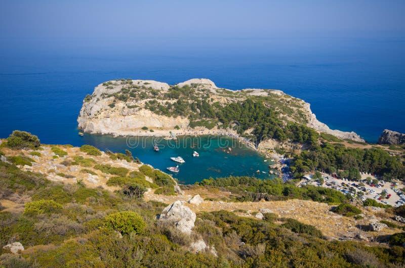 在罗得岛海岛,希腊上的安东尼・奎恩海湾 免版税库存图片