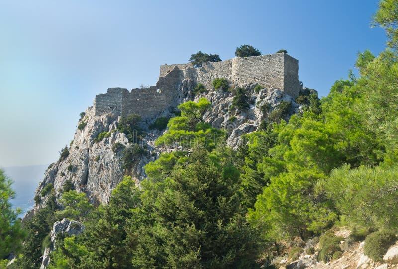 在罗得岛海岛,希腊上的Monolithos城堡 库存照片