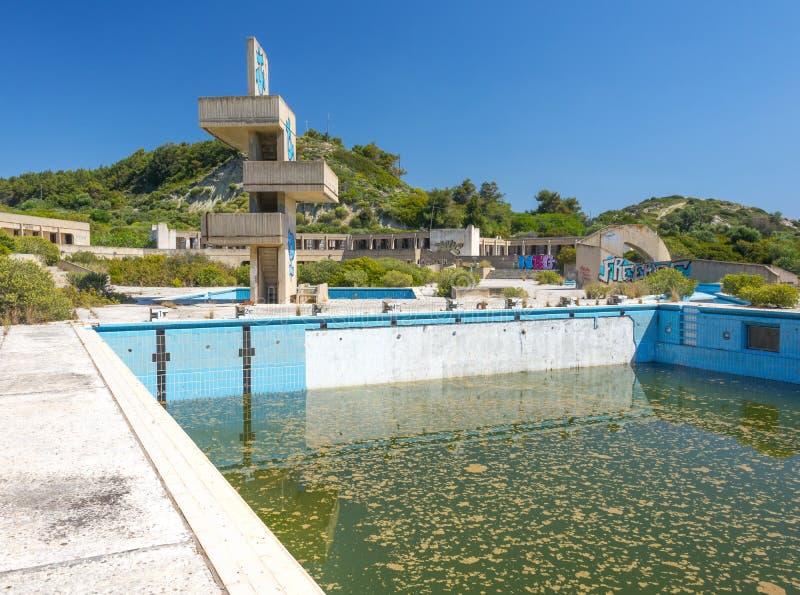 在罗得岛,希腊的被放弃的lido 免版税库存照片