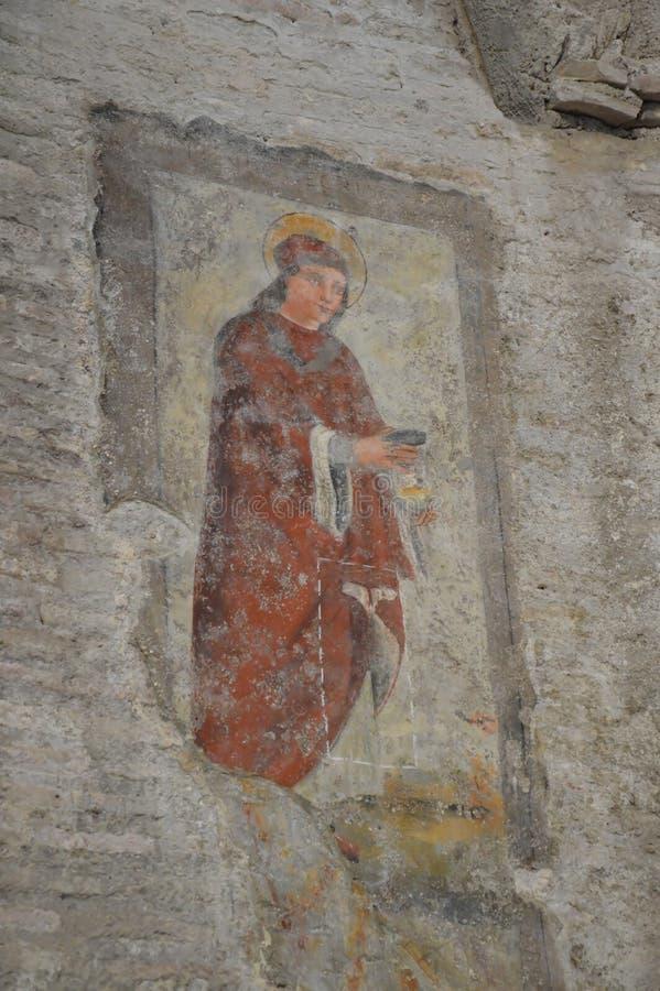 在罗慕洛里面寺庙的壁画  免版税库存图片
