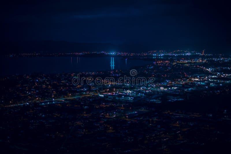 在罗托路亚市和湖罗托路亚的蓝色夜 免版税图库摄影