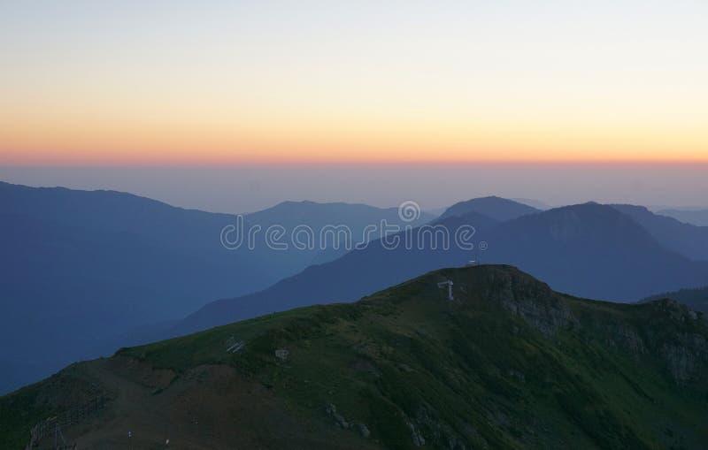 在罗莎峰顶的日落 免版税图库摄影