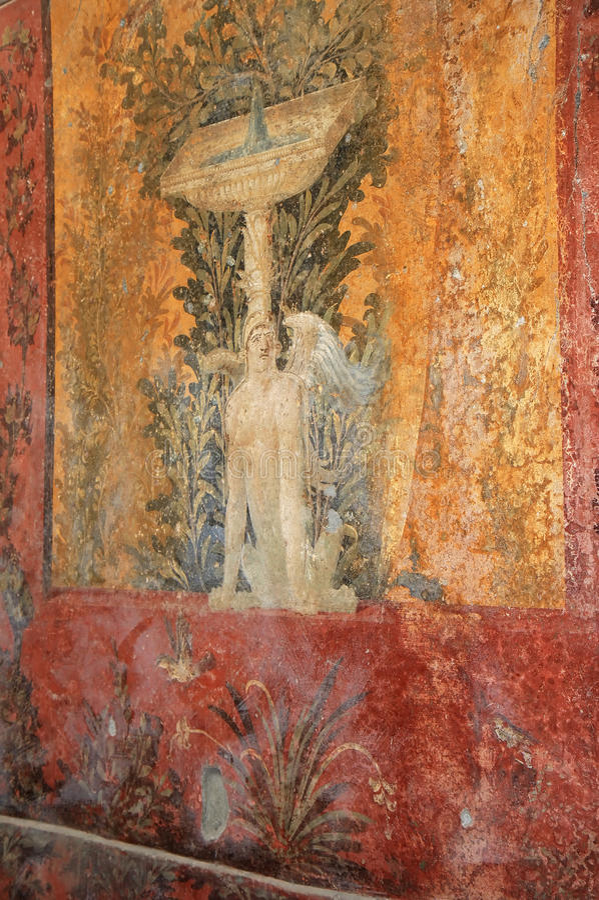 在罗马别墅Poppaea,意大利的喷泉壁画 图库摄影