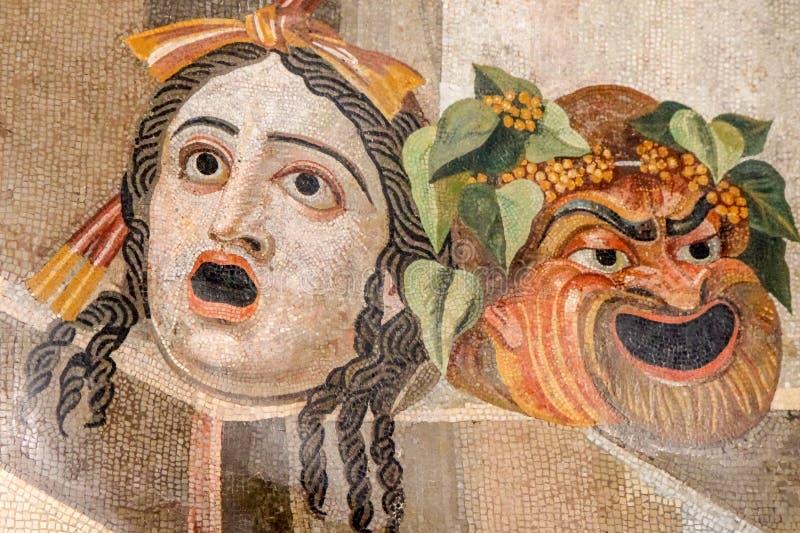 在罗马国家博物馆的剧院面具 免版税库存图片