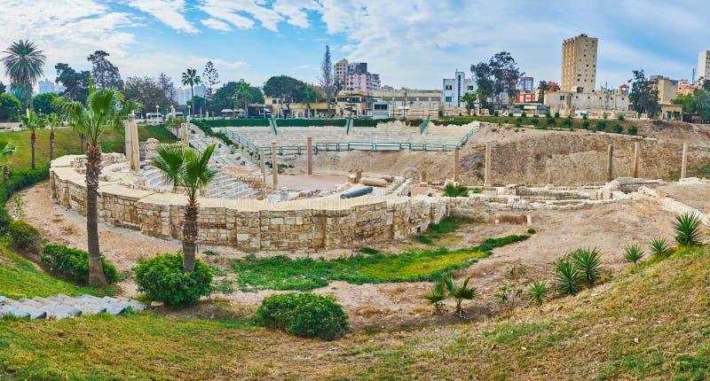 在罗马圆形露天剧场,考姆广告Dikka,亚历山大附近的即公园, 图库摄影