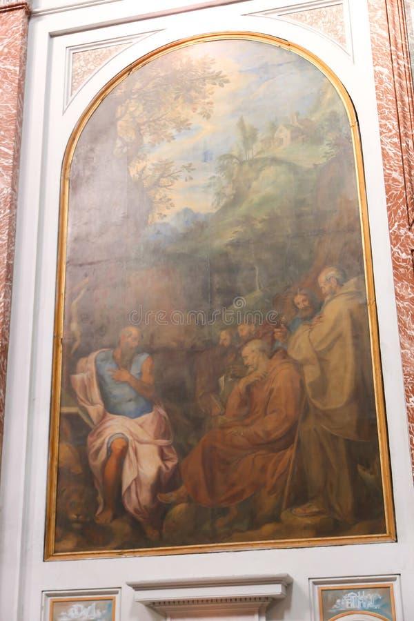 在罗马大教堂的绘画  库存图片