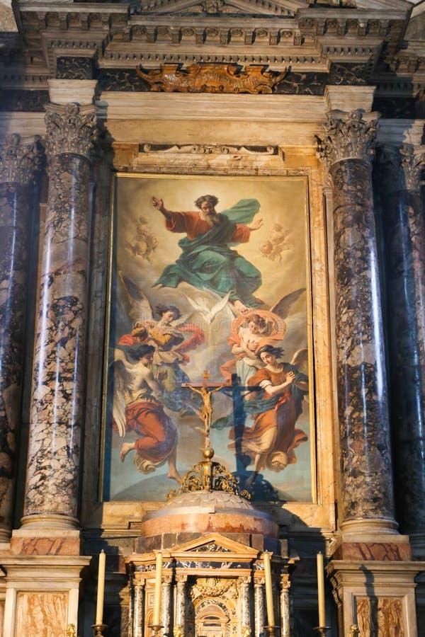 在罗马大教堂的绘画  免版税库存图片