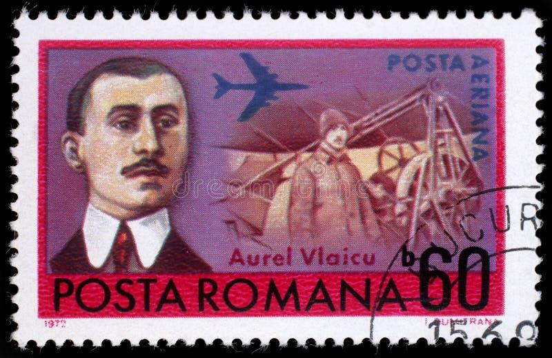 在罗马尼亚打印的邮票显示Aurel Vlaicu 库存照片
