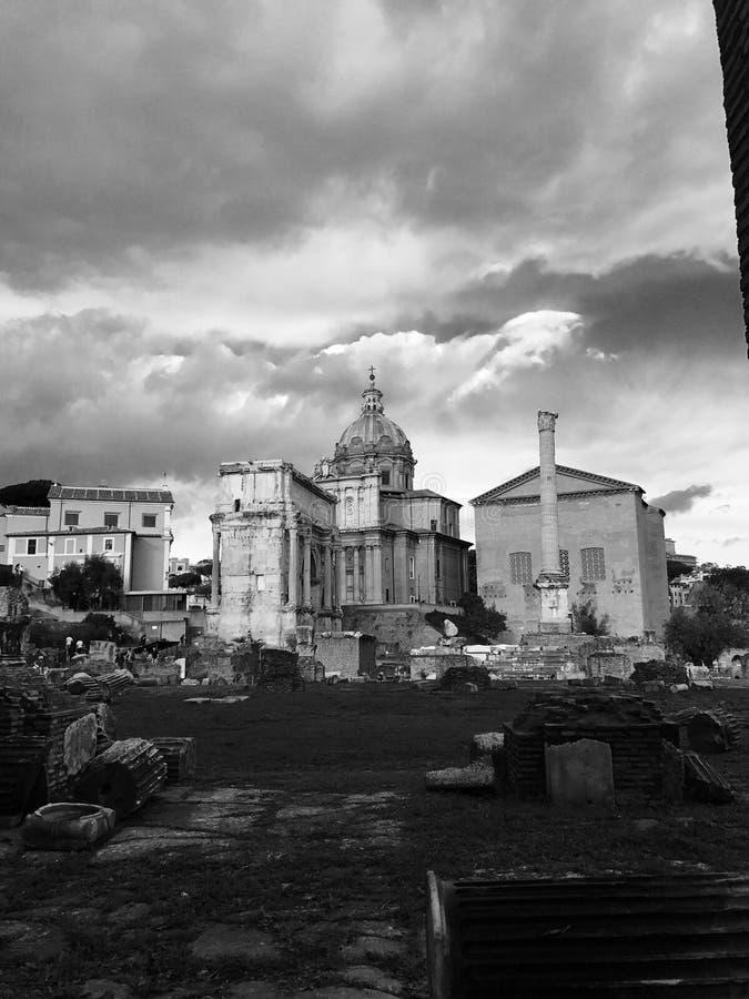 在罗马广场的建筑学 库存照片