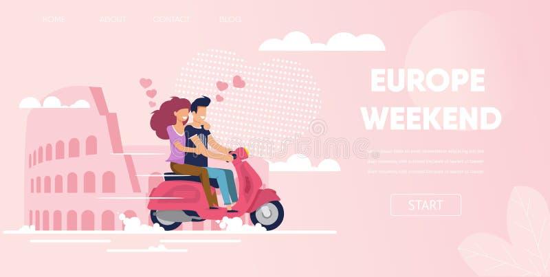 在罗马意大利欧洲周末旅行的爱夫妇 库存例证