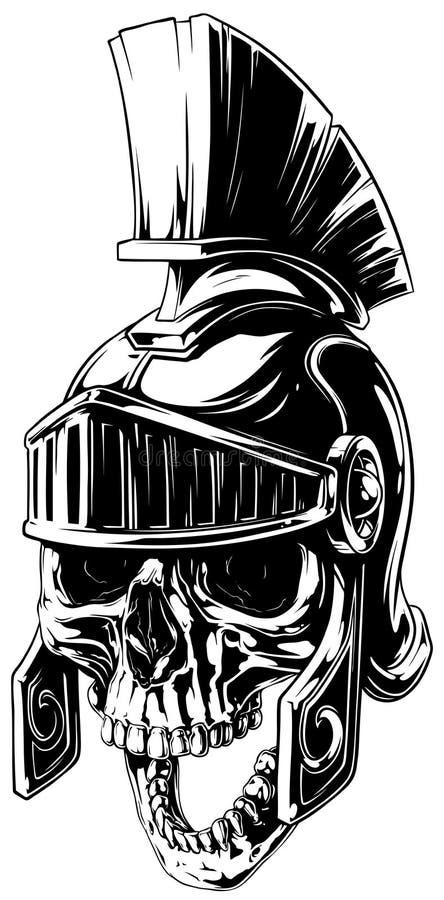 在罗马盔甲的黑白人的头骨 库存例证