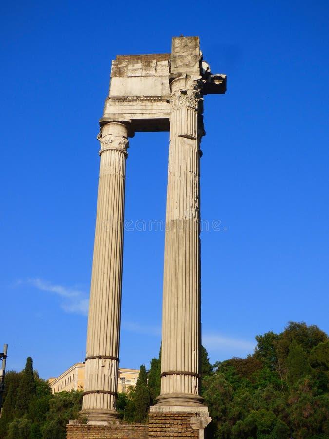 在罗马Forrum的一个罗马专栏身分 免版税库存照片