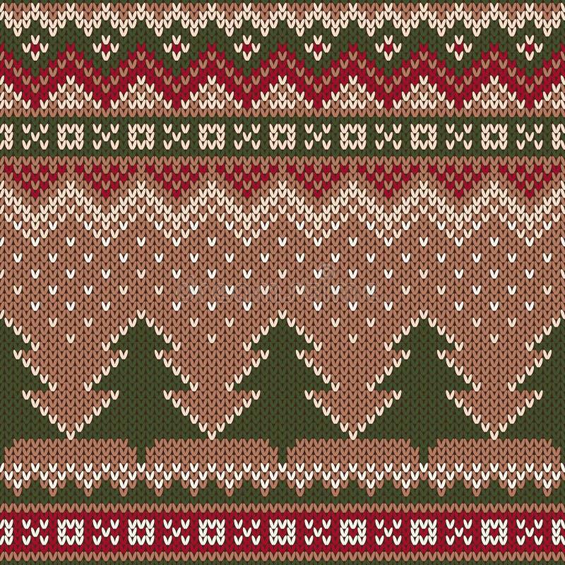 在羊毛的无缝的寒假样式编织了纹理 Chr 库存例证