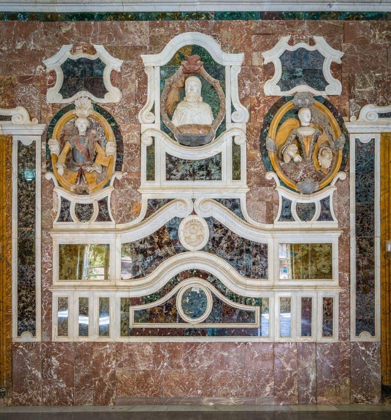 在美丽的别墅帕拉戈尼亚的室内视域在巴盖里亚,在巴勒莫附近 意大利西西里岛 免版税库存图片