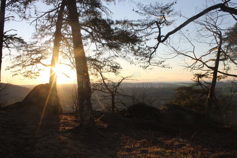 在美丽的山的日出 图库摄影
