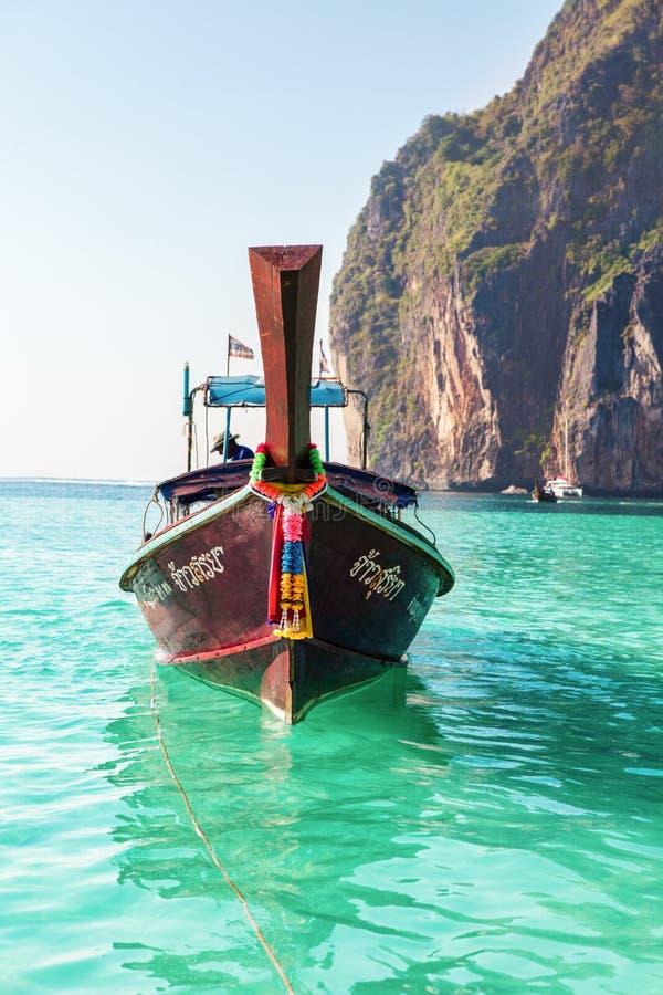 在美丽的海滩的Longtale小船,泰国 免版税库存图片