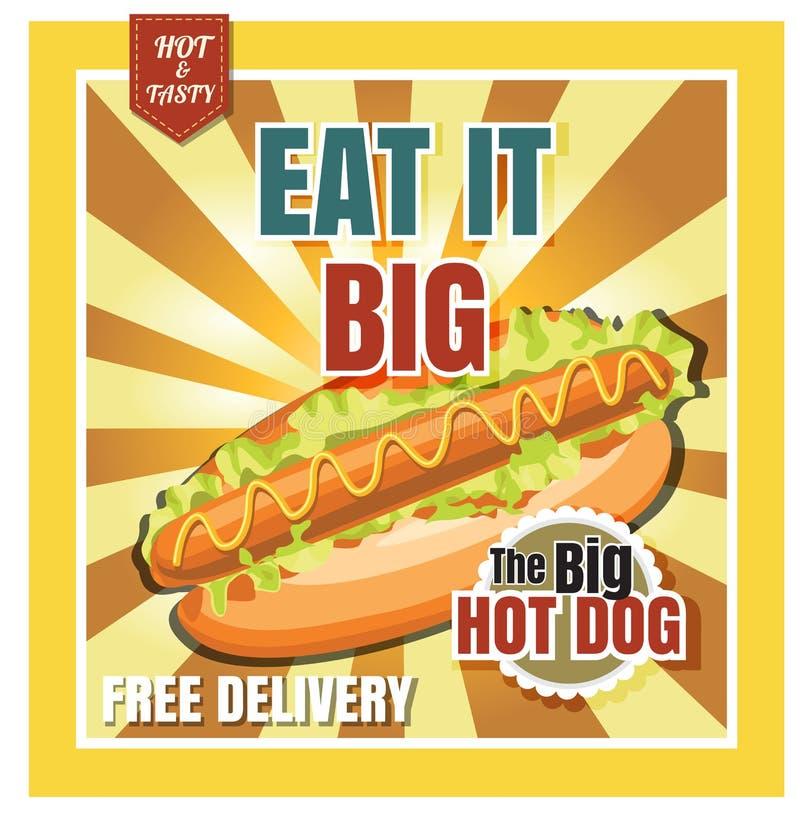 在美丽的背景vecto的餐馆快餐菜单热狗 向量例证