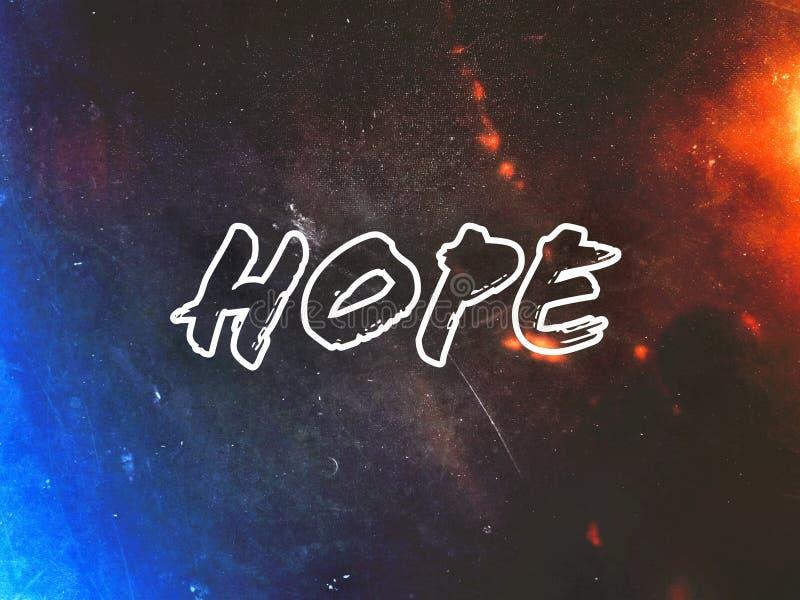 在美丽的黑暗的背景文本字体的希望词 库存照片