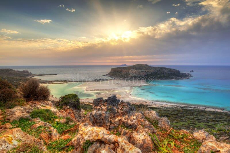 在美丽的Balos海滩的日落 库存照片