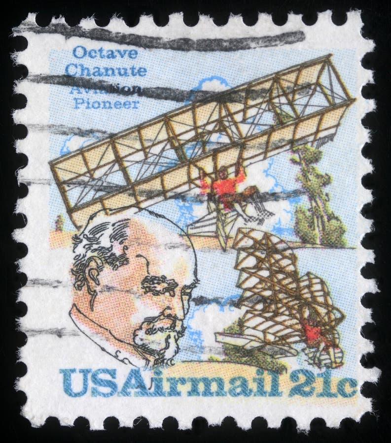 在美利坚合众国打印的邮票显示八音度Chanute 图库摄影