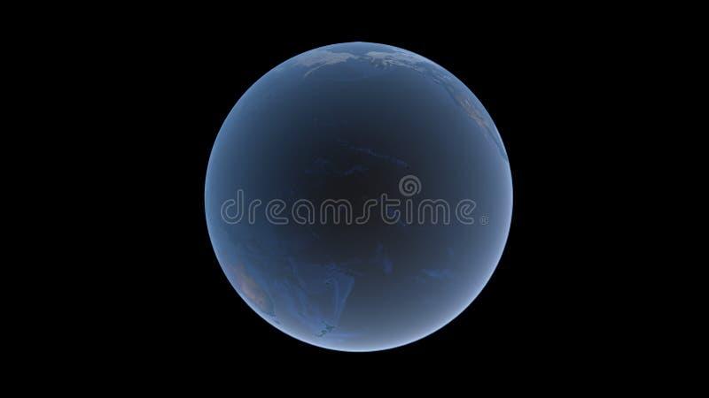 在美国、亚洲和澳大利亚之间的太平洋地球球的,在黑背景的被隔绝的地球, 3D翻译, t的元素 向量例证