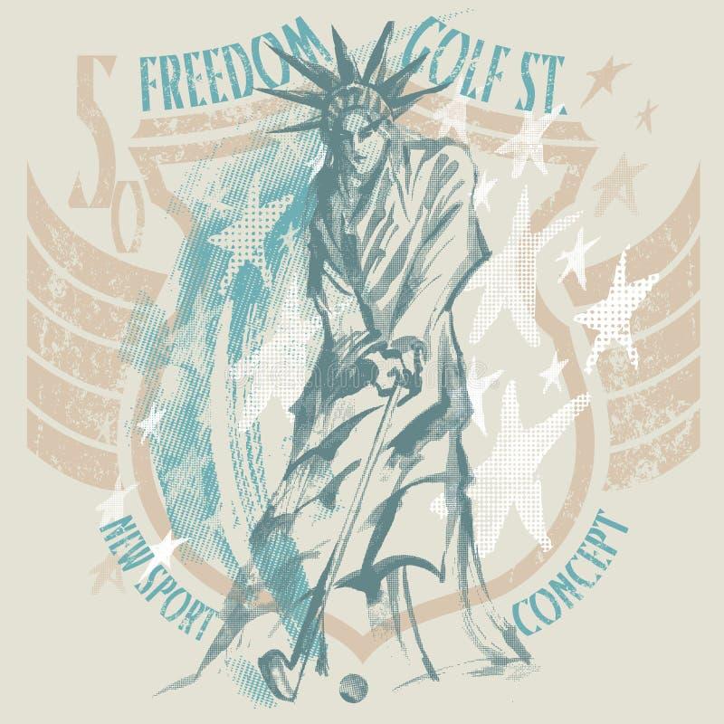 在美国人的自由女神像戏剧高尔夫球证章 库存例证