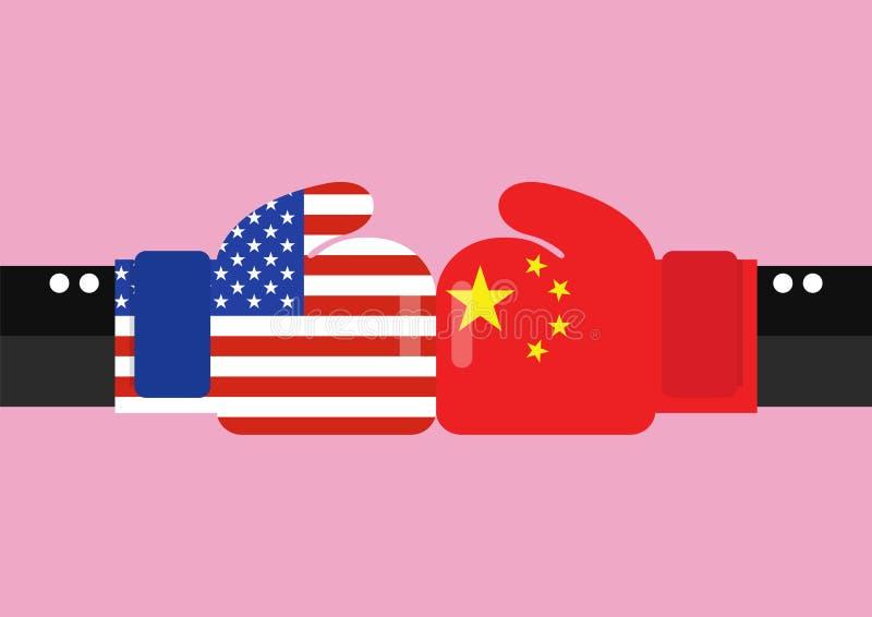 在美国和中国之间的冲突 皇族释放例证