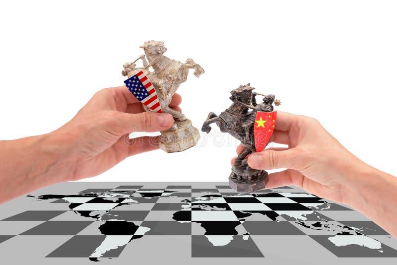 在美国和中国之间的贸易战 免版税库存照片