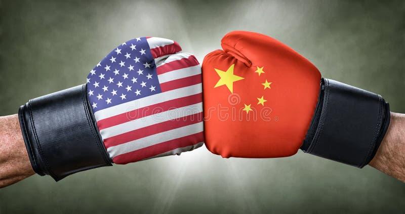 在美国和中国之间的拳击赛 免版税库存图片