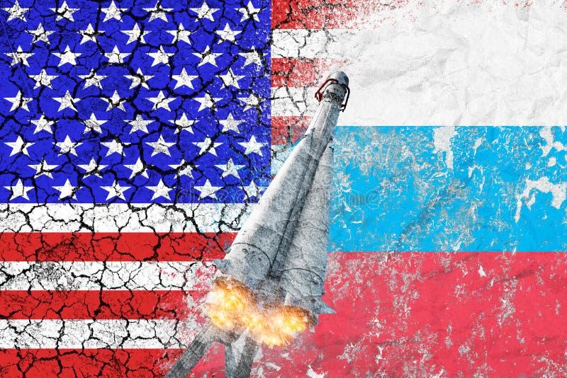 在美国和俄罗斯之间的交锋 核攻击威胁  在混凝土墙上绘的两个国家旗子  免版税图库摄影