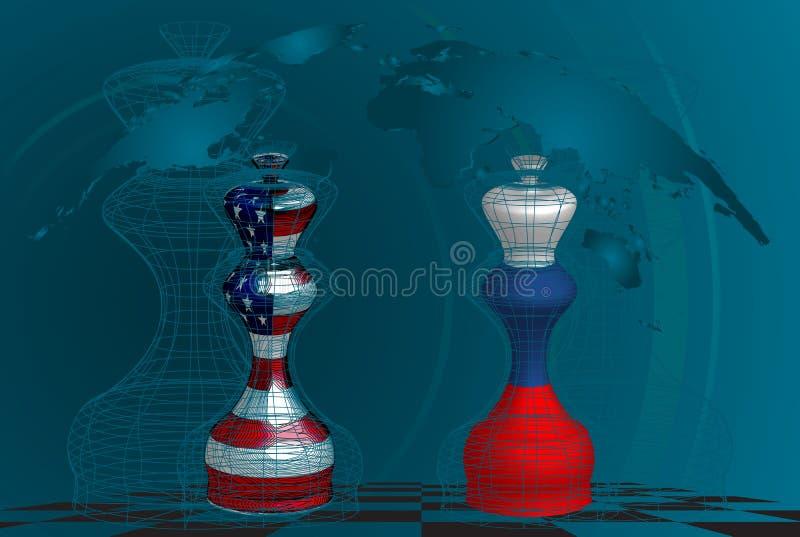 在美国和俄罗斯之间的贸易战 向量例证