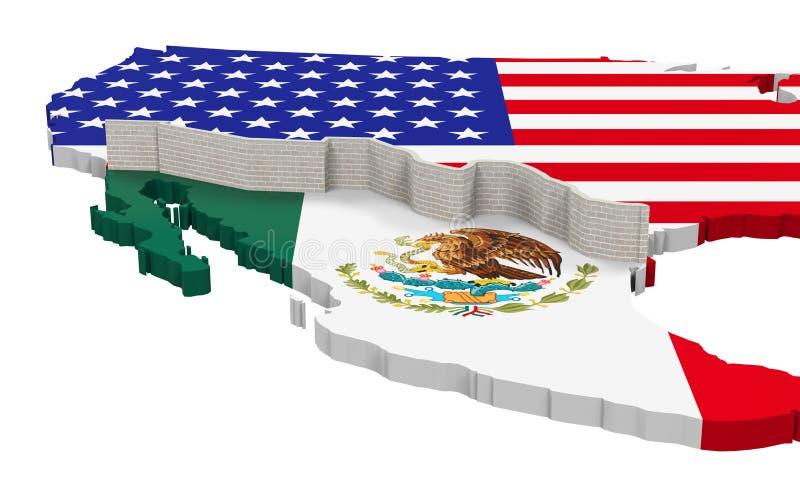 在美国和墨西哥之间的边界墙壁 库存例证